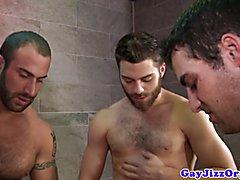 Gay bathroom orgy with bukakke ending