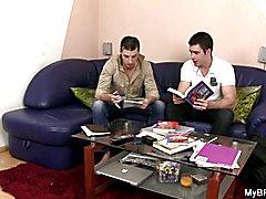 Gay boyfriend seduces him as his wife leaves