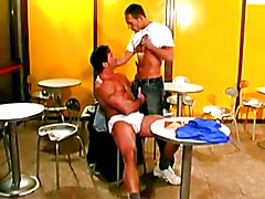 Muscleman fucked in a coffee shop