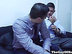 Muscular office hunk eats and fucks ass