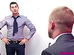 Muscular british gay office rimming and fuck action on the office table