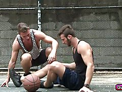 Basket players Jarec Wentworth and Trace Kendall play