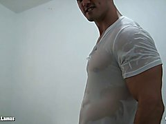 Alain Lamas muscle jock throws water all over his hot