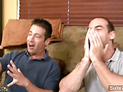 Brunette married guy Girth Brooks gives blowjob and