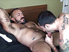 Bareback fuck with latin muscle daddy.