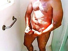 hairy jerk off in the shower