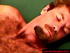 Hairy straight redneck gets cumshot by kiny mature gay