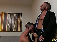 Dirk and Jimmy Hunk Daddys one on one blowjob and hard