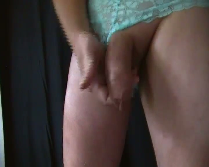 crossdressing cum in my panties - A hot cum-shot in my new green lace panties.