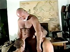 Hot army dad plays with two hot younger soldiers.
