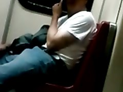 str8 men working his bulge in metro