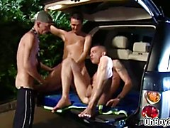 Monstercock orgy with three fucking faggots