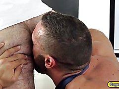 whitecollar Denis got his rock hard dick inside Dakotas hairy hole doggystyle bareback execu...