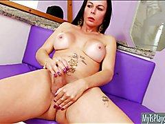 Big boobs tranny Paula D Avila solo play