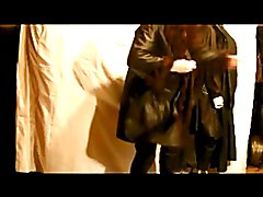 leather coat and leather skirt wanking and stroking