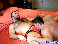 Hairy gay bear fucking his hunky boyfriend and cumming