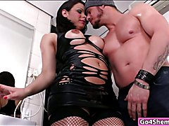 Huge titted tranny banged in the asshole