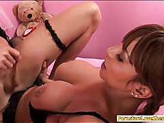 MILF wears strapon and fucked shemale