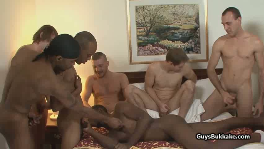 Interracial gay gangbang video