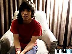 Long haired Tyler gets horny and loves to show off his dick
