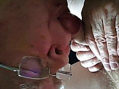 Grandpa sucks a young cock