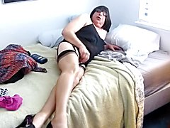 Showing off New Nylons and Masturbating