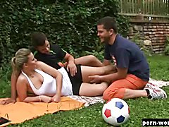 Getting a bit hot and sweaty from a casual game of kicking the ball is exactly what this sex...