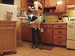 Sissy Maid doing chores before Mistress gets home