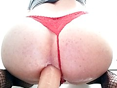 Bubble butt sissy femboy cd big dildo riding