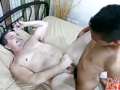 Horny asian twink Craig getting fucked by a hot daddy Mike