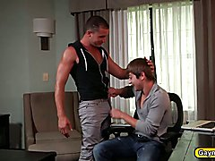 Johnny Rapid chokes on Armandos big dick