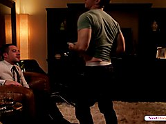 Stripping out of his clothes, Gabriel Cross has Dylan