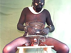 E-stim cum while bound, gagged, double vibrated and dildo.