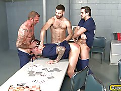 Parker is getting a lot of big gay dicks inside the prison the inmates are making a choo cho...