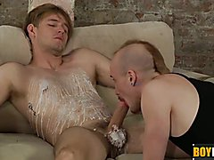 Kieron covers boy slave Jaxon in candle wax and cum  scene 2