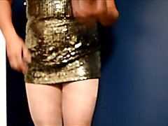 cd in shiny dress small cock black panty