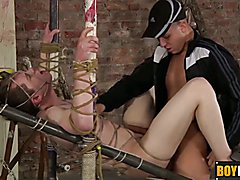 Tied up slave Leo gets his ass drilled by horny Deacon  scene 2