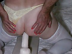 Riding my 9 inch dildo cowgirl with yellow panties on.