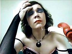 sissy crossdresser deepthroat training with some feet