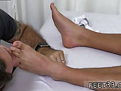 Naked college football player and foot fetish slave gay sex Tommy Gets Worshiped In His