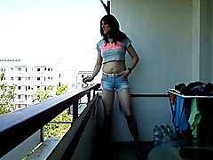 sandralein33 smoking Outdoor in hot short jeans and Top