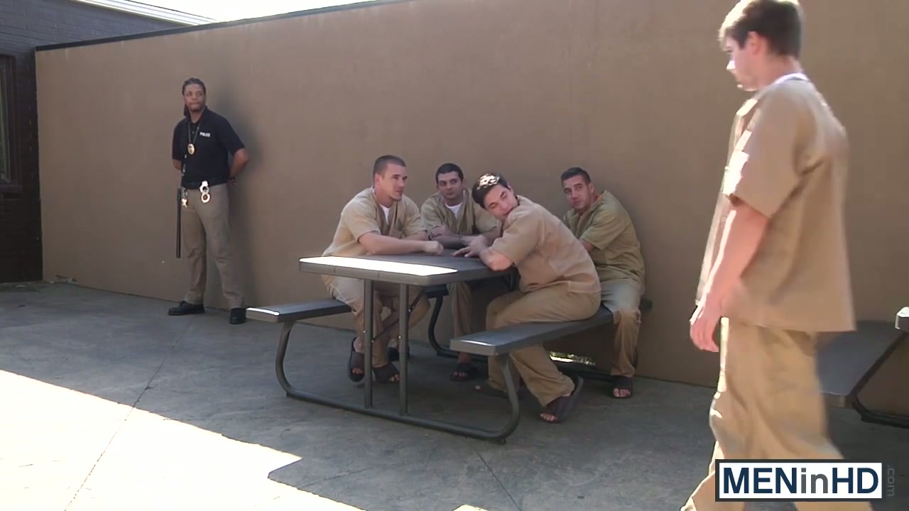 Gay guys have an orgy in the prison yard