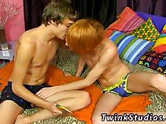 Teen boy film gay porn and sex boy cumming Preston Andrews and Blake Allen celebrate