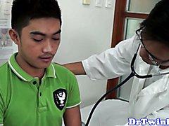 Enema doctor facefucks ethnic twink