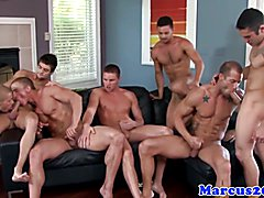 Gay group cocksucking and jerking galore