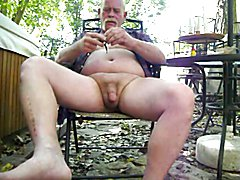 horny and went out to the back yard and beat off/ball