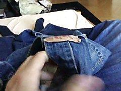 Small jerk in Levis 501 jeans Cumshot
