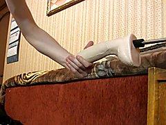 Best anal dildo makes me cum doggy style, sex machine