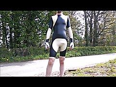 Latex cycling skinuit Black and sand
