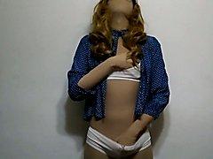 zentai crossdresser blue
